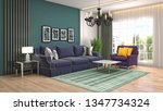 interior of the living room. 3d ... | Shutterstock . vector #1347734324