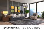 interior of the living room. 3d ... | Shutterstock . vector #1347734597
