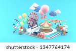 carousel  ferris wheel  train ... | Shutterstock . vector #1347764174