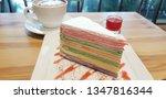 colorful crepe cake in white... | Shutterstock . vector #1347816344