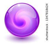 purple glass sphere  3d marble... | Shutterstock .eps vector #1347818624