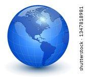 earth globe 3d icon  glossy... | Shutterstock .eps vector #1347818981