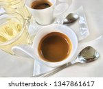 coffee set with white cup on... | Shutterstock . vector #1347861617