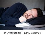 man with sleep problem in his... | Shutterstock . vector #1347880997