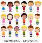 vertical group of children | Shutterstock .eps vector #134792021