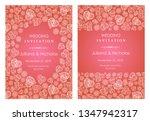 set invitation card for wedding ... | Shutterstock .eps vector #1347942317