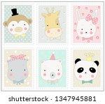 the cute animal cartoon in... | Shutterstock .eps vector #1347945881