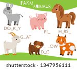 farm animals. write missing... | Shutterstock .eps vector #1347956111