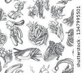 illustration pattern vegetables ... | Shutterstock .eps vector #1347995501