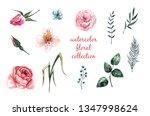 beautiful watercolor flowers... | Shutterstock . vector #1347998624