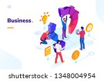 business people at office doing ... | Shutterstock .eps vector #1348004954