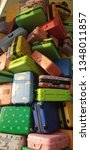 colourful suitcase chaos | Shutterstock . vector #1348011857