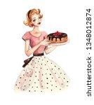 vintage watercolor illustration ... | Shutterstock . vector #1348012874