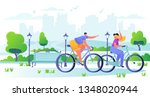 man and woman characters riding ... | Shutterstock .eps vector #1348020944