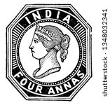 This illustration represents India in Four Annas Stamp from 1854, vintage line drawing or engraving illustration.
