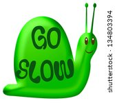 Smiling Green Snail On White...