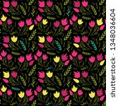 simple floral pattern with... | Shutterstock .eps vector #1348036604