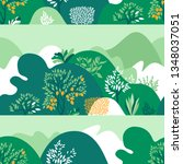 Seamless pattern hilly landscape with trees, bushes and plants. Growing plants and gardening. Protection and preservation of the environment. Vector illustration.