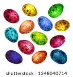 set of multicolored quail eggs...   Shutterstock . vector #1348040714