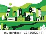 minimal cityscape. flat... | Shutterstock .eps vector #1348052744