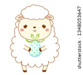 easter sheep with egg. cute...   Shutterstock .eps vector #1348053647