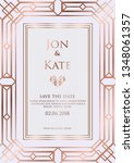 wedding invitation with rose... | Shutterstock .eps vector #1348061357