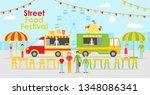 illustration of food trucks on... | Shutterstock . vector #1348086341
