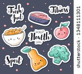 world health day stickers pack. ... | Shutterstock .eps vector #1348111301