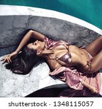 sensual young woman taing a... | Shutterstock . vector #1348115057