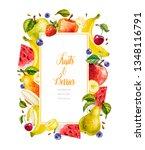 watercolor fruits and berries.... | Shutterstock . vector #1348116791