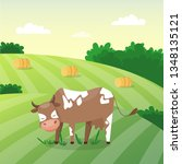 adorable cute cow on the green... | Shutterstock .eps vector #1348135121