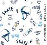 hand drawn skateboarding... | Shutterstock .eps vector #1348142177