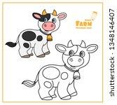cute cartoon cow with bell... | Shutterstock .eps vector #1348146407