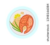 fish menu flat color icon. red...