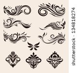 decorative swirl ornament set | Shutterstock .eps vector #134818274