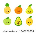 happy cute smiling fruit face...   Shutterstock .eps vector #1348203554