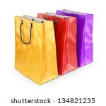 Colorful bags for shopping. 3D isolated on white background - stock photo
