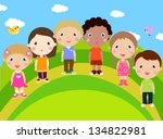 group of kids | Shutterstock .eps vector #134822981