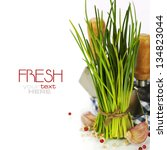 a bunch of fresh chives and... | Shutterstock . vector #134823044