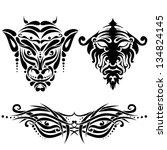 set of tattoo face | Shutterstock .eps vector #134824145