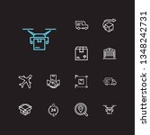 logistics icons set. van and...