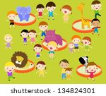 kids in the zoo | Shutterstock .eps vector #134824301