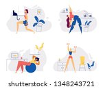 athletic female character... | Shutterstock .eps vector #1348243721