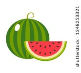 watermelon on a white... | Shutterstock .eps vector #1348253321