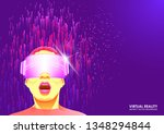 the virtual reality glasses.... | Shutterstock .eps vector #1348294844