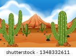 desert with mountain and cacti...   Shutterstock .eps vector #1348332611