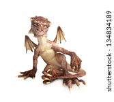 Baby dragon sitting on a white background, part of a baby dragon series - stock photo