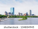 Stock photo boston back bay with sailing boat and urban building city skyline in the morning 134834945