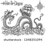 scary leviathan fighting old... | Shutterstock . vector #1348351094