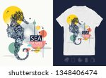 sea horse  zine culture style.... | Shutterstock .eps vector #1348406474